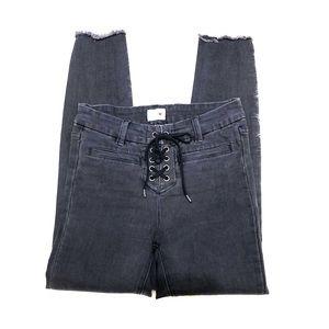 Amuse Society Black Lace Up Skinny Jeans 27